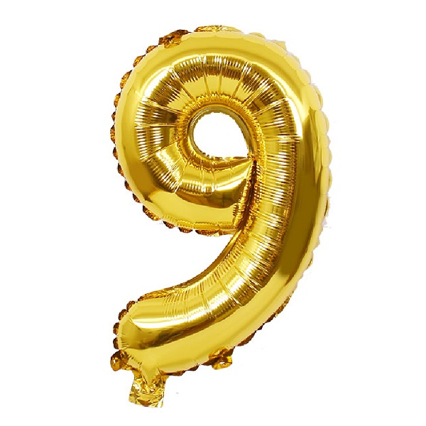 9 – Gold Numbered Balloon