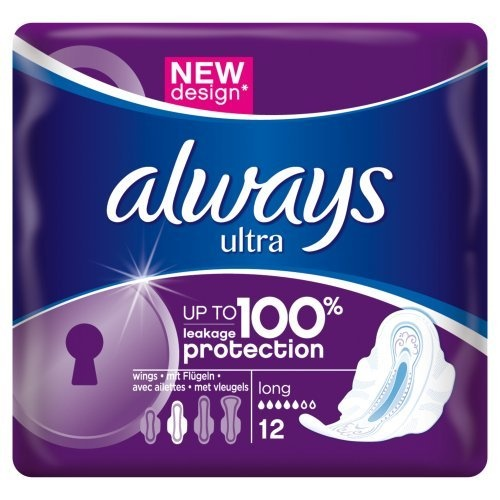 Always Ultra Long Plus Sanitary Towels with Wings Single Pack, 12 Pads