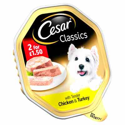 Cesar Classics Wet Dog Food Tray with Tender Chicken & Turkey in Loaf 150g TWIN PACK