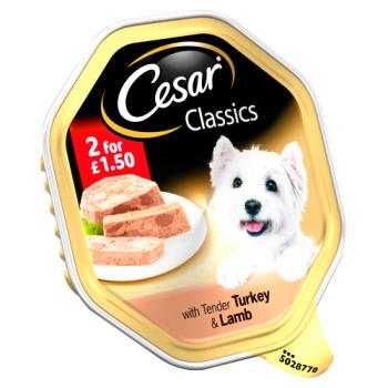 Cesar Classics Wet Dog Food Tray with Tender Turkey & Lamb in Loaf 150g – Twin Pack