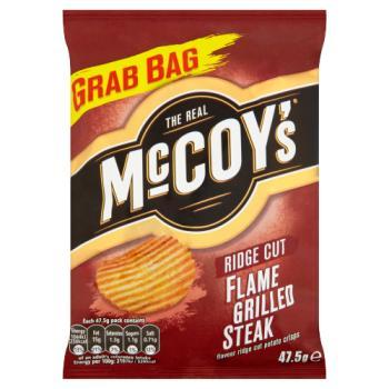 The Real McCoy's Flame Grilled Steak Ridge Cut Potato Crisps 47.5g