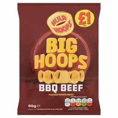 Hula Hoops Big Hoops BBQ Beef Flavour Potato Rings 80g