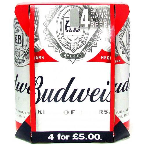 Budweiser 4.5% 4 Pack PM £5