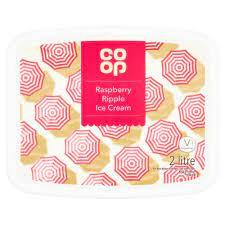 CO OP Raspberry Ripple Ice Cream 2 LTR
