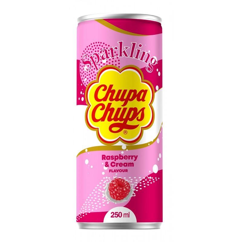 CHUPA CHUPS 250ML RASPBERRY & CREAM FLAVOUR SPARKLING SOFT DRINK